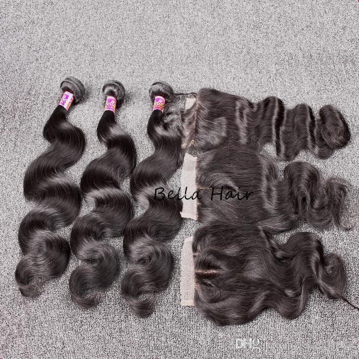 Bella Hair® Hair Bundles With Closure 8A Peruvian Full Head Unprocessed Human Hair Weave with Closure Black Color Body Wave Free Shipping
