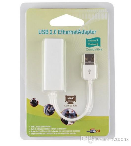 USB 2.0 to RJ45 Network Card Lan Adapter For Mac OS Android Tablet pc Win 7 8 XP100Mbps