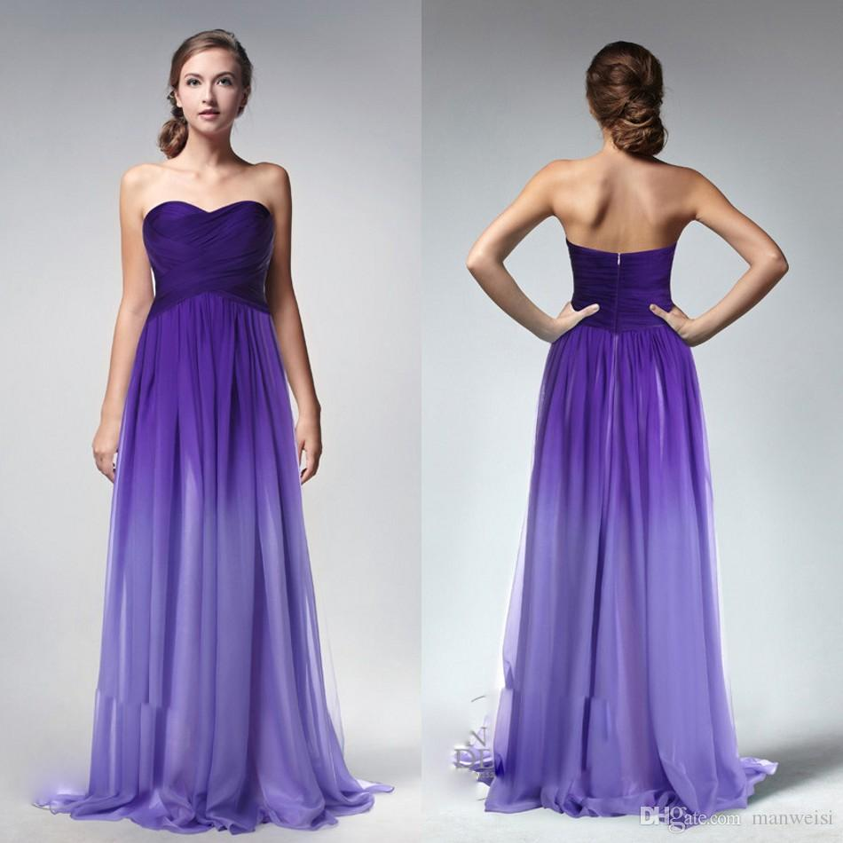 Ombre Purple Cheap A Line Long Bridesmaid Dresses Sweetheart