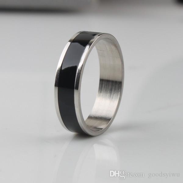 Moda 6mm Aço Inoxidável Banda Anéis de Titânio Anel Centro Legal preto para Mulheres e Homens Banda jóias Tamanho # 6 a # 12