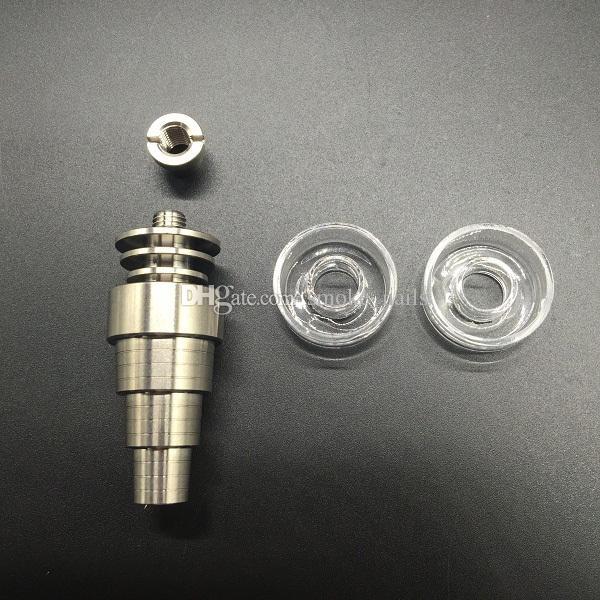 Nova chegar titânio / quartzo prego híbrido incluindo 10/14/18 milímetros em 6 1 de titânio prego + bacia quartzo substituível 100% para os tubos de água bongs