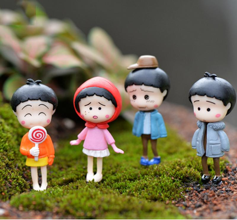 4pcs Anime Chibi Maruko-chan Figures Fairy Garden Miniatures Resin Crafts Terrarium Figurines Baison Dollhouse Ornament Girls Toys DIY