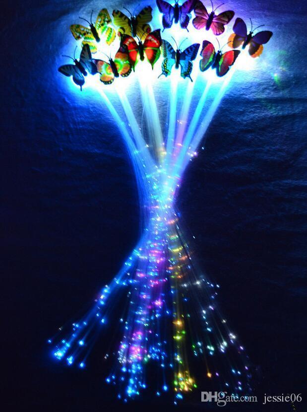 LED flash borboleta trança de fibra de festa de dança iluminado para cima brilho luminosa extensão do cabelo rave halloween decoração de natal festivo favor