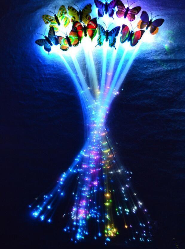 LED flash danza de la trenza de fibra de mariposa danza iluminada resplandor luminoso extensión del pelo rave decoración de halloween festivo de Navidad favor