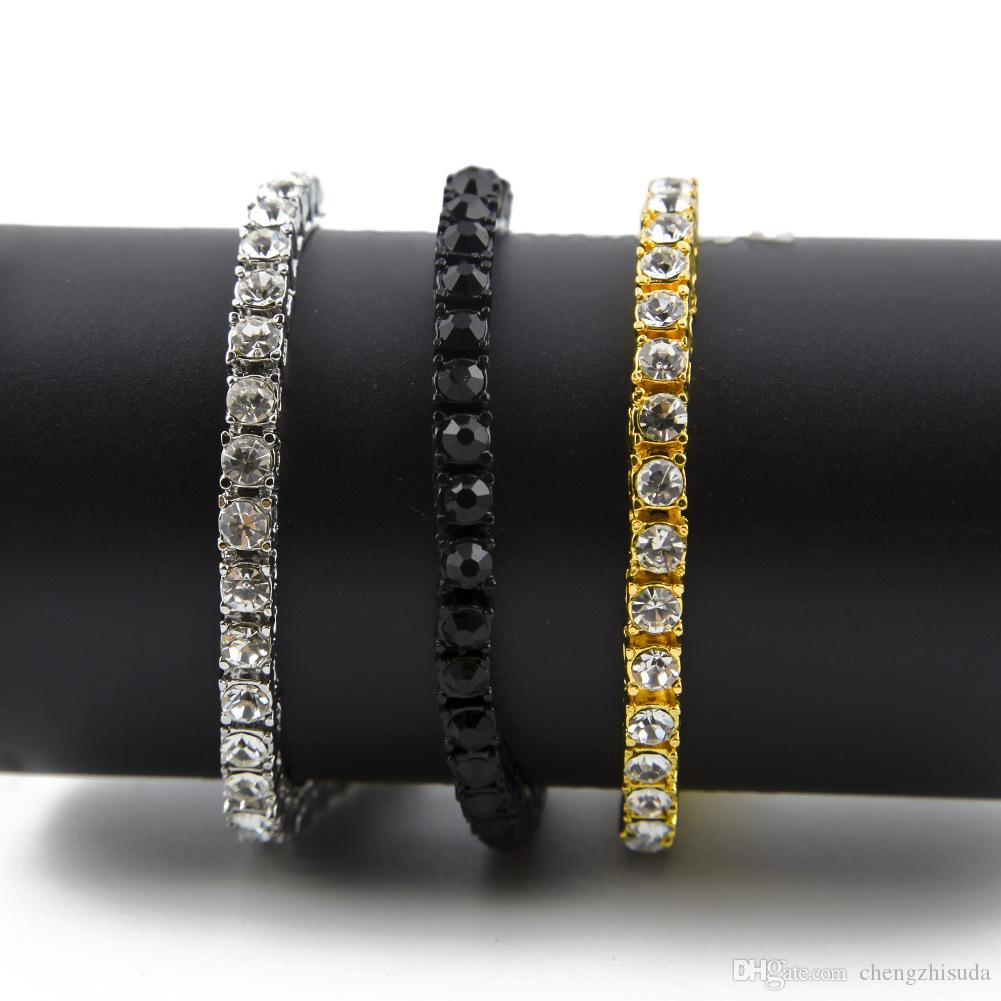 Iced Out 1 Row Rhinestones Pulsera Hombre Hip Hop Style Diamante simulado claro 7/8 / 9inches Pulsera Bling Bling