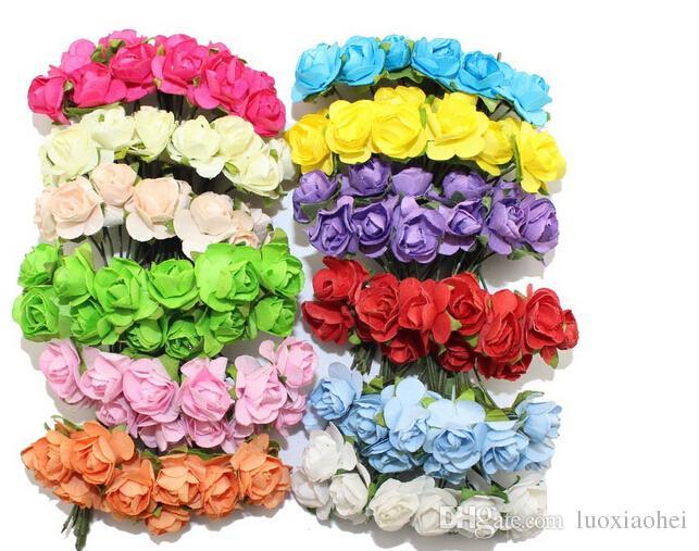 2018 Wholesale 1 1.5cm Head Multicolor Mulberry Paper Flower Bouquet ...