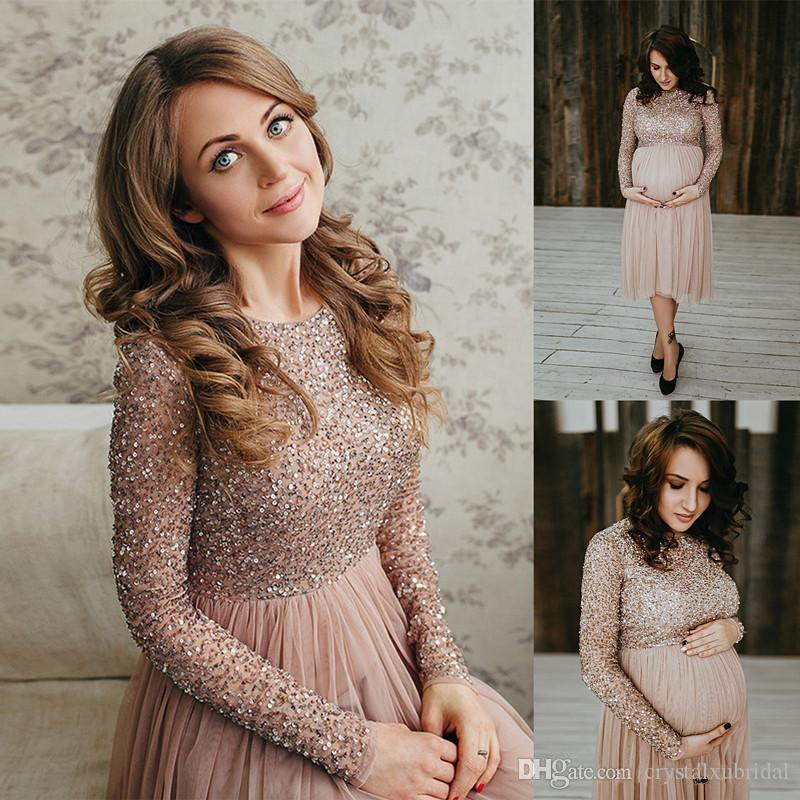 2018 New Long Sleeve Prom Dresses For Pregnant Women Sequin Beading Shiny  Tea Length Short Evening Dress Cheap Maternity Formal Dresses Prom Dresses  Ball ... 8e64b131a45c
