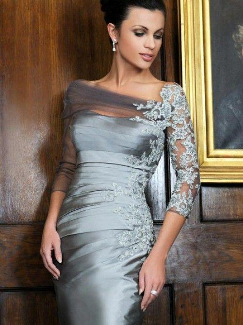 3/4 Sleeves Silver Satin Short Mother Of The Bride Dresses With Lace ...