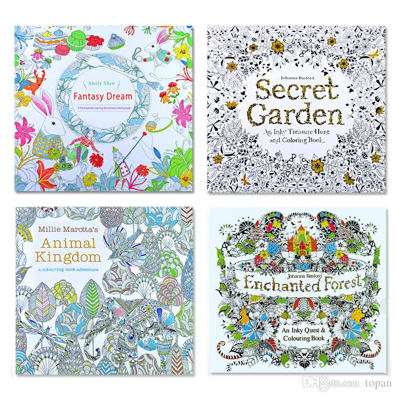 4 Designs Secret Garden An Inky Treasure Hunt And Coloring Book Children Adult Relieve Stress Kill Time Graffiti Painting Drawing Ing Printouts
