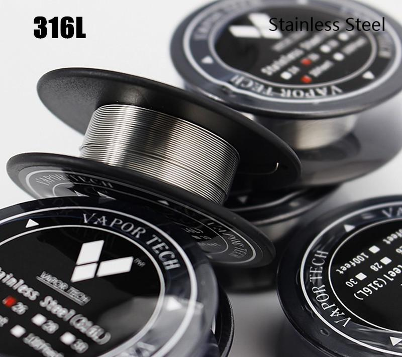 Best SS316 Stainless Steel Wire VAPOR TECH High Resistance Heating Wire 26 28 30gauge AWG 30 Feet/Roll ecigs Resistance Coil DHL Free