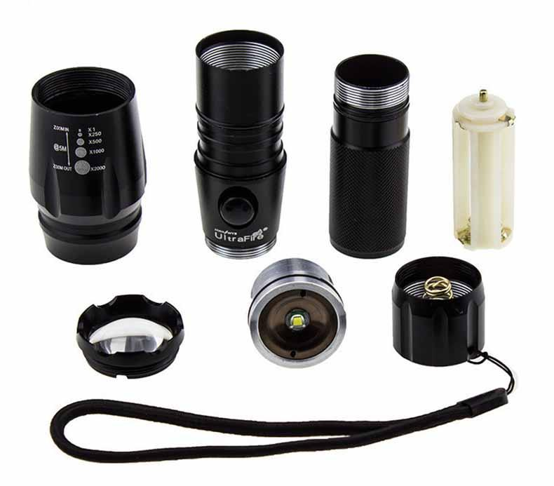 Ultra Bright CREE LED XM-L T6 3000 Lumens flashlight E17 Zoomable Torch light with 18650 Battery + Car Charger + charger + box