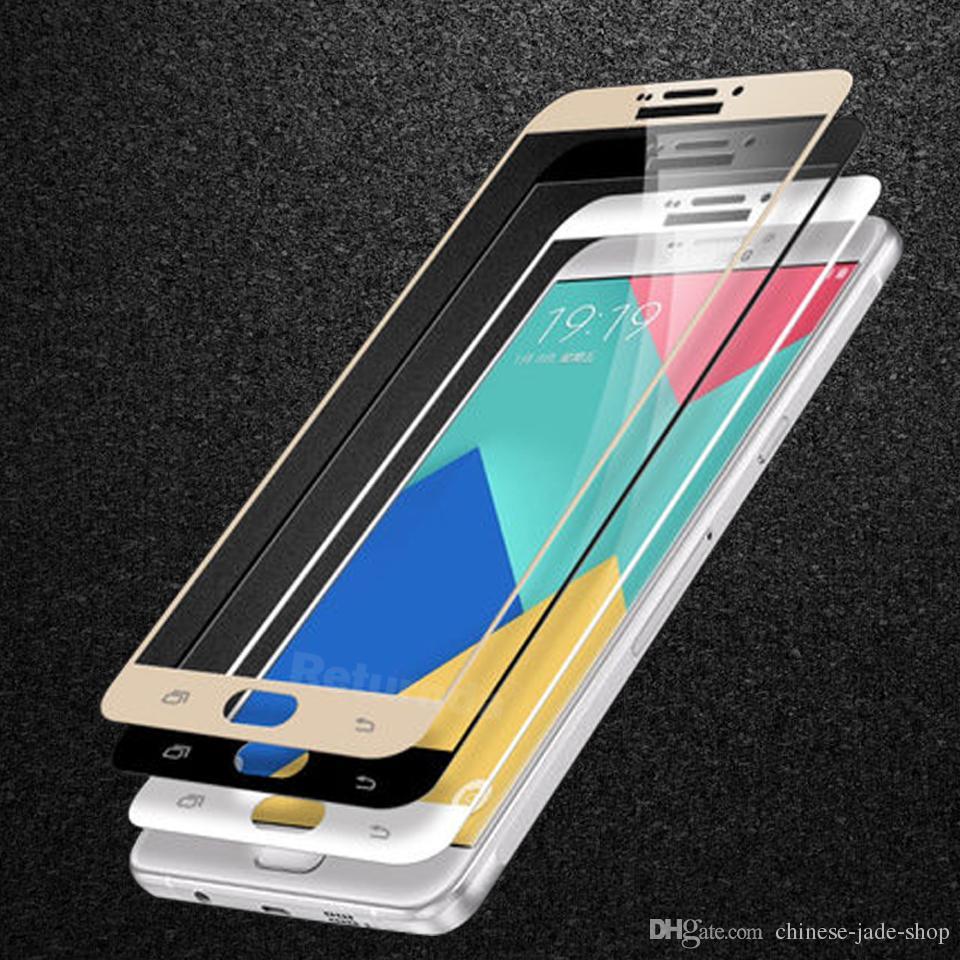 Para iphohne x 8 5 5s 6 6 s plus 7 plus s6 galaxy s6 s7 nota 5 9 h cobertura completa colorido protetor de tela de vidro temperado silk impresso cola