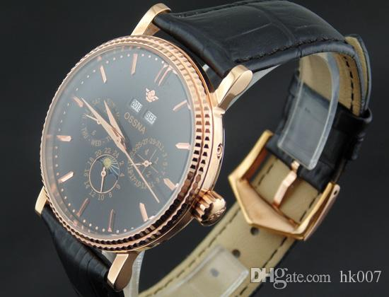 1618 Ossna 40mm Black Dial PVD Rose Gold Stainless Steel Case Moon Phase Multifunction Auto Watch Gift For Men