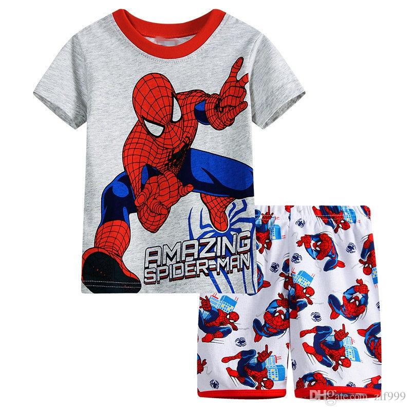 Summer Kids Pajamas Sets Baby Boys Gilrs Sleepwear Short Sleeve Pijamas Cotton Costume Children Nightdress Clothing Pyjama SP97