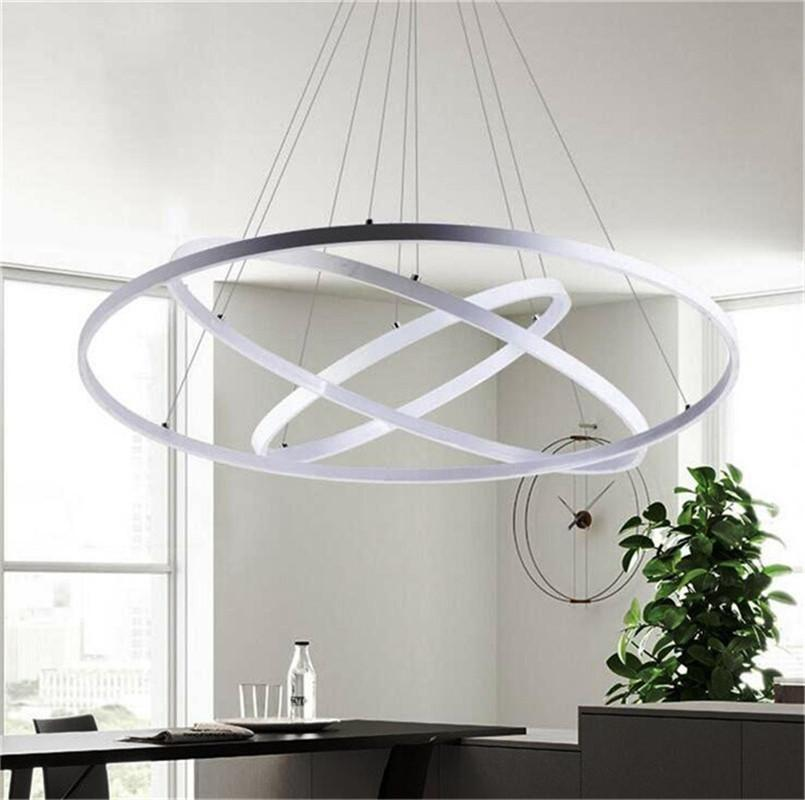 Modern Circular Ring Pendant Lights 3 2 1 Circle Rings Acrylic Aluminum Led Lighting Ceiling Lamp Fixtures For Living Room Dining Drum