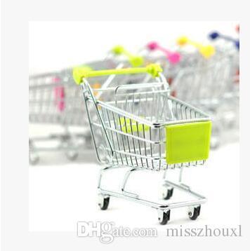 Mode Mini Supermarkt Hand Trolleys Mini Warenkorb Desktop Dekoration Aufbewahrungsbox Handyhalter Baby Spielzeug Neu