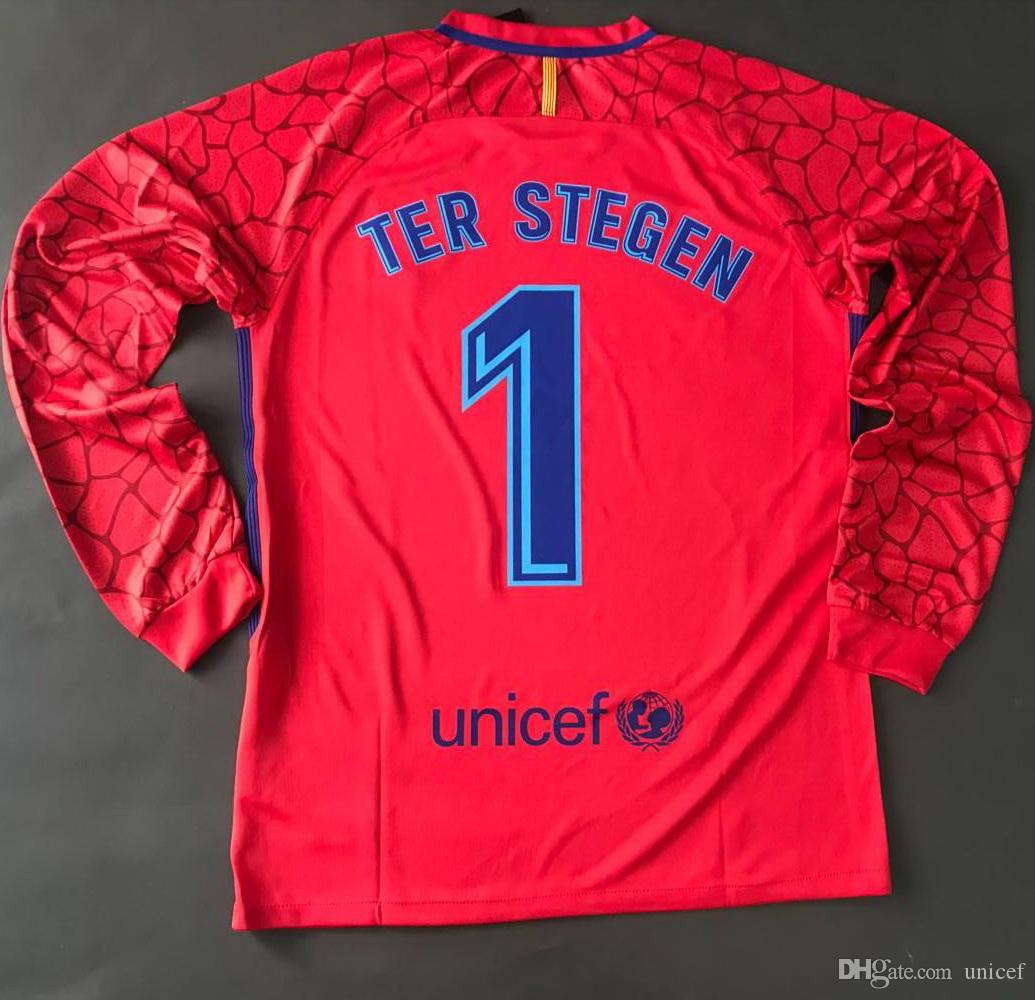 Ter Stegen 2017 2018 Club Home Away Red Soccer Jerseys Goalkeeper Goalie GK  Door Man Full Long Sleeve Shirts Uniforms Football Kits Ter Stegen Jersey  ...