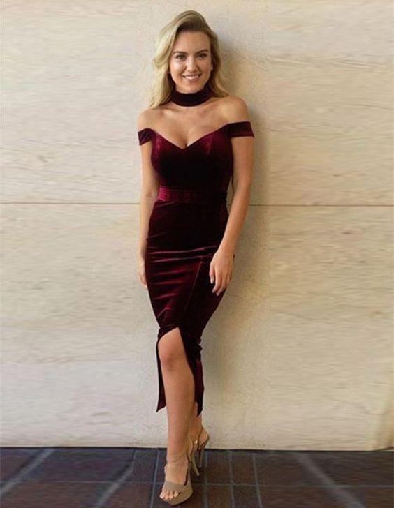 Sexy Off Shoulder 2019 Mother Of The Bride Dresses Tea Length Deep V Neck Velvet Burgundy Evening Dress For Mother