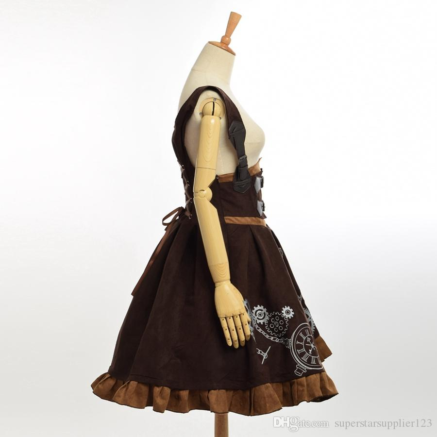 Elegant Gothic SteampunK Lolita JSK Dress Vintage Blue Brown Women Embroideried Corset Dresses High Quality New