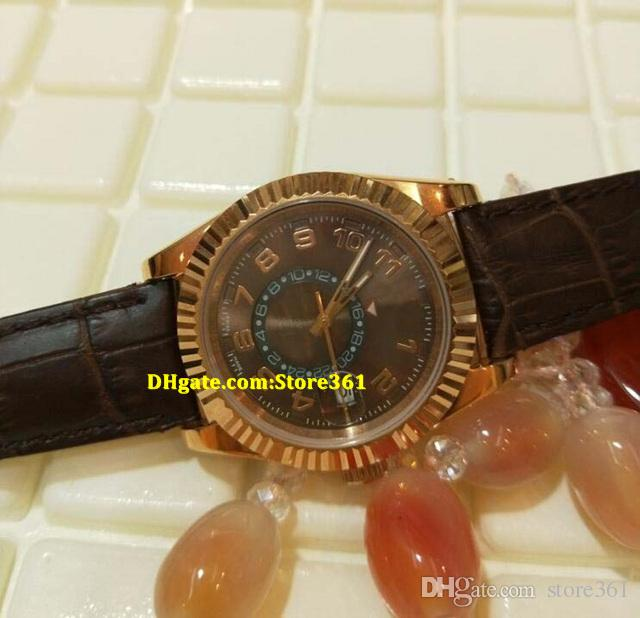 Christmas gift swiss Luxury watches top brand Automatic Brown Dial GMT 18K Rose Gold Leather Watch 326135