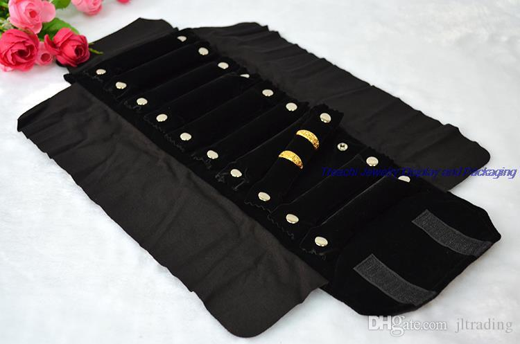 Big Sale Small Cute Quality Ring Jewelry Organizer Pouches Bags Ring Bar Black Grey Velvet Travel Roll Bag Jewelry Holder