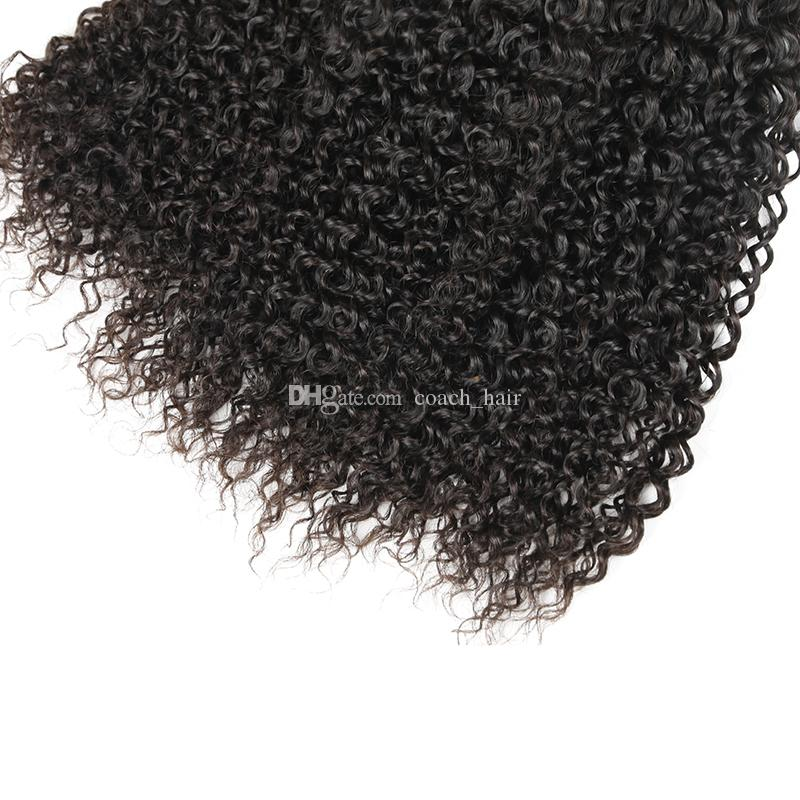 8A Malaysian Hair With Closure Kinky Curly Hair Weaves 3Bundles With Closure Malaysian Curly Hair With Closure Afro Curly