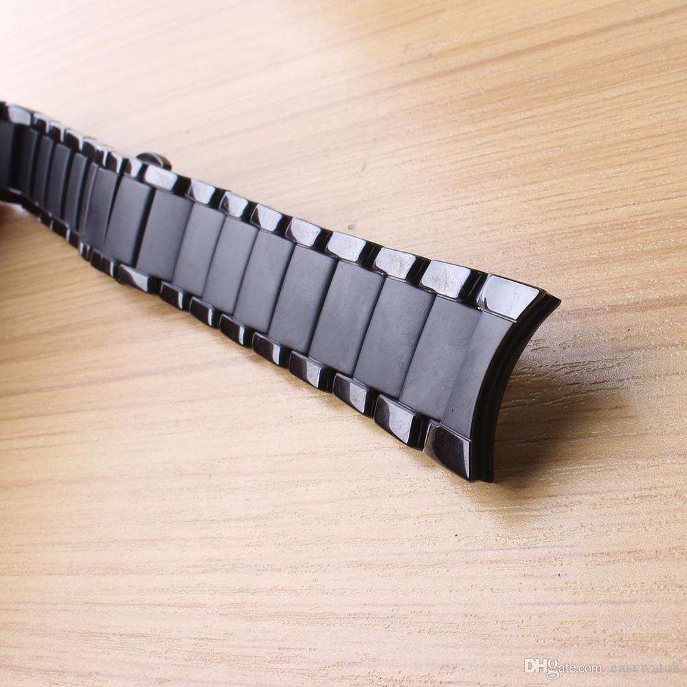 Neu eingetroffen Uhrenarmband gebogenes Ende Keramikarmband für Männer 1451 1452 Armband 24mm schwarz poliert und mattes Farbe wasserdichtes Uhrenarmband