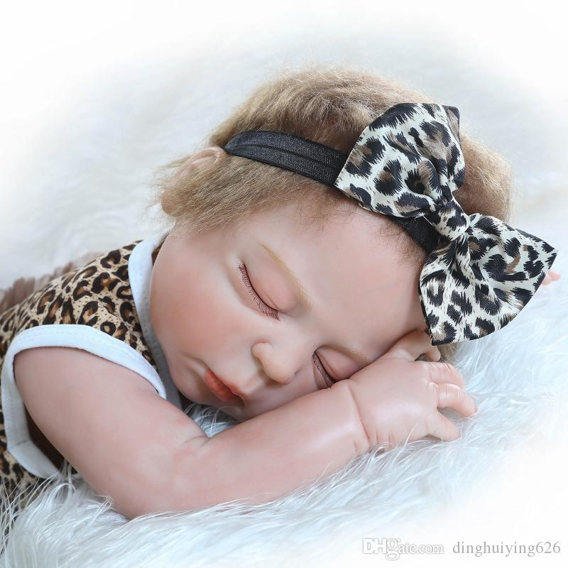 22 inch Full Vinyl Body Bathed ANATOMICALLY CORRECT Sleeping Reborn Girl Baby Doll Gift Educational Doll in Lepord Clothes