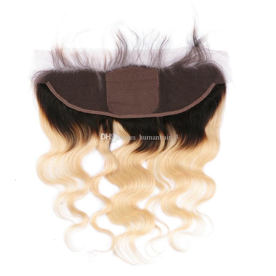 قاعدة الحرير الدانتيل أمامي مع حزم شقراء أومبير الشعر مع الدانتيل أمامي 13 * 4 الأذن إلى الأذن frontals الدانتيل الكامل مع شعر الجسم موجة
