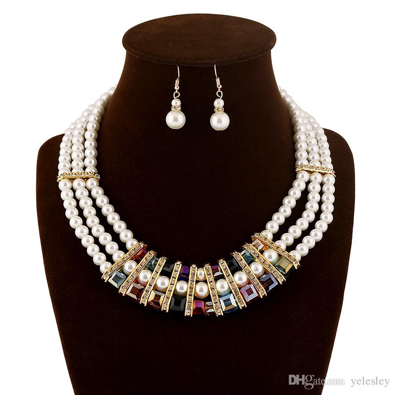 Jewelry Sets necklace earrings Multi-Layered White Imitation Pearl Necklace Long Earrings Women Collar brand