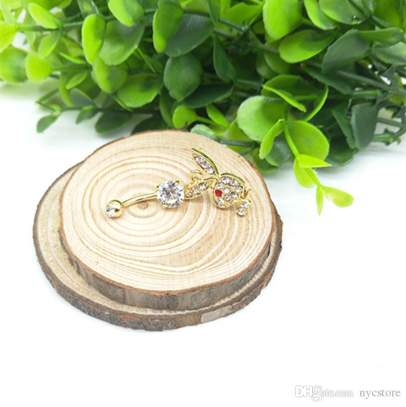 الأرنب الذهب مطلي استرخى البطن زر خواتم السرة ثقب الجسم مجوهرات الأحجار الكريمة