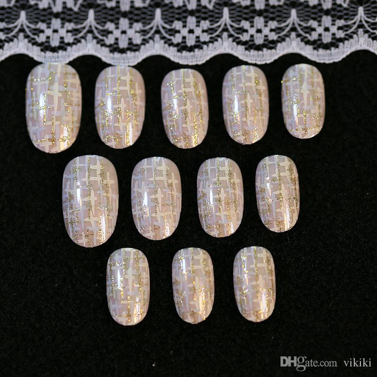 / set motif doré rond petit pré conception faux ongles style japonais faux ongles ongles art conseils salon manucure art pour femmes dame fille