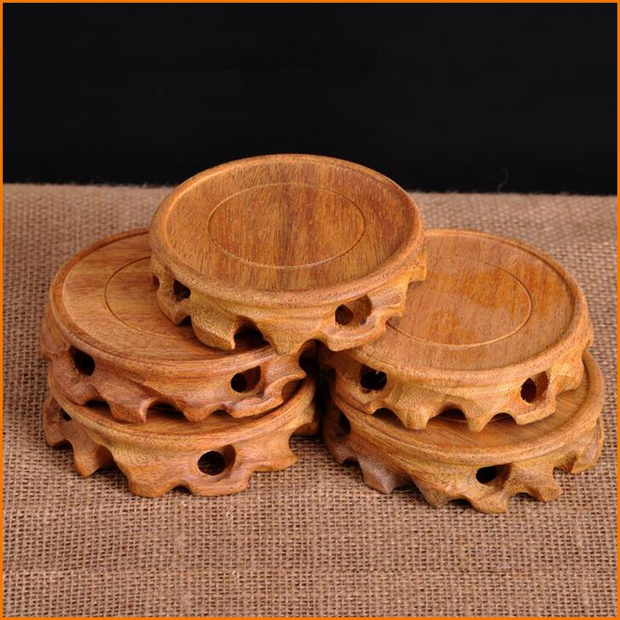 Wood Round Carving Wooden Crafts Ornaments Home Base Jade Stone Pedestal Mini Vase Flower Pot Decoration Of The House Pieces For