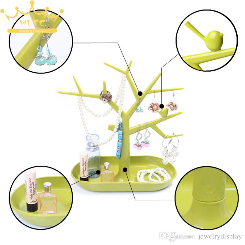 Hot Sales Fashion TC Jewelry Necklace Ring Earrings Bird Green Tree Stand Display Organizer Holder Rack