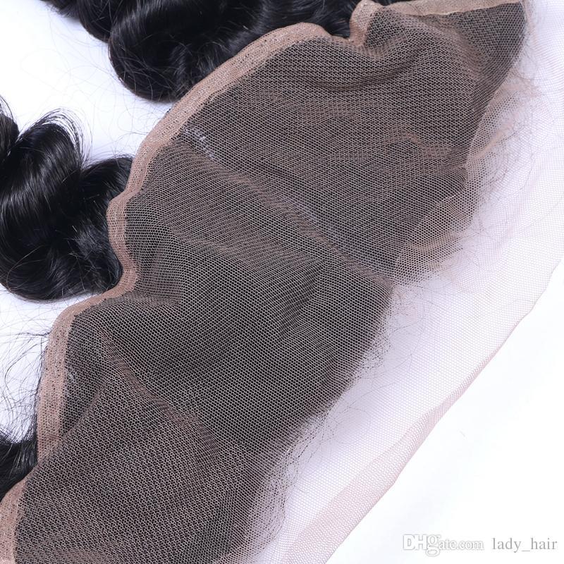 Reine brasilianische lose Welle Menschenhaar 13x4 Ohr zu Ohr volle Spitze Fontals mit Baby Haar lose Welle Spitze Frontal Schließung gebleichte Knoten