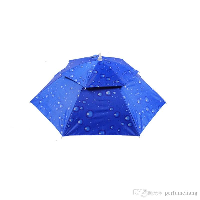 Wholesale 360 degree All round Umbrella hat double layer outdoor anti-uv umbrella cap windproof umbrella hat for fishing ZA0523