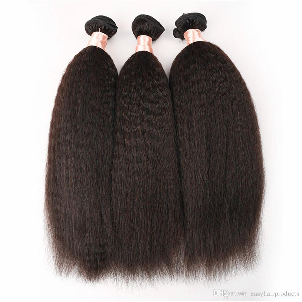 G-EASY naturel noir brazillian crépus cheveux raides grossier Yaki cheveux raides tisse 8-30 pouces non transformés cheveux humains livraison gratuite