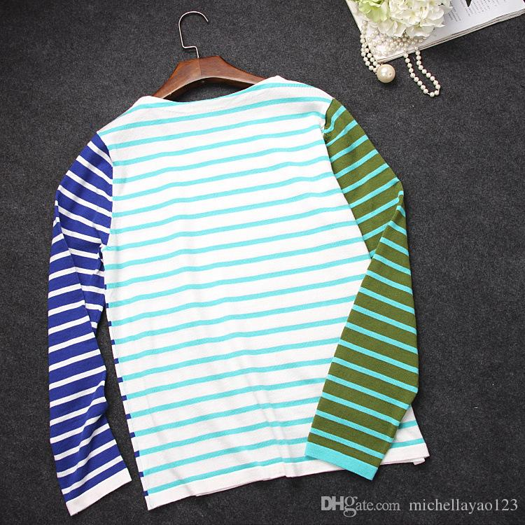 Brand Same Style Colorful Striped Patchwork Autumn Wool Women's Pullovers 2016 Celebrity Style Sweaters Knitting Underwear 92006