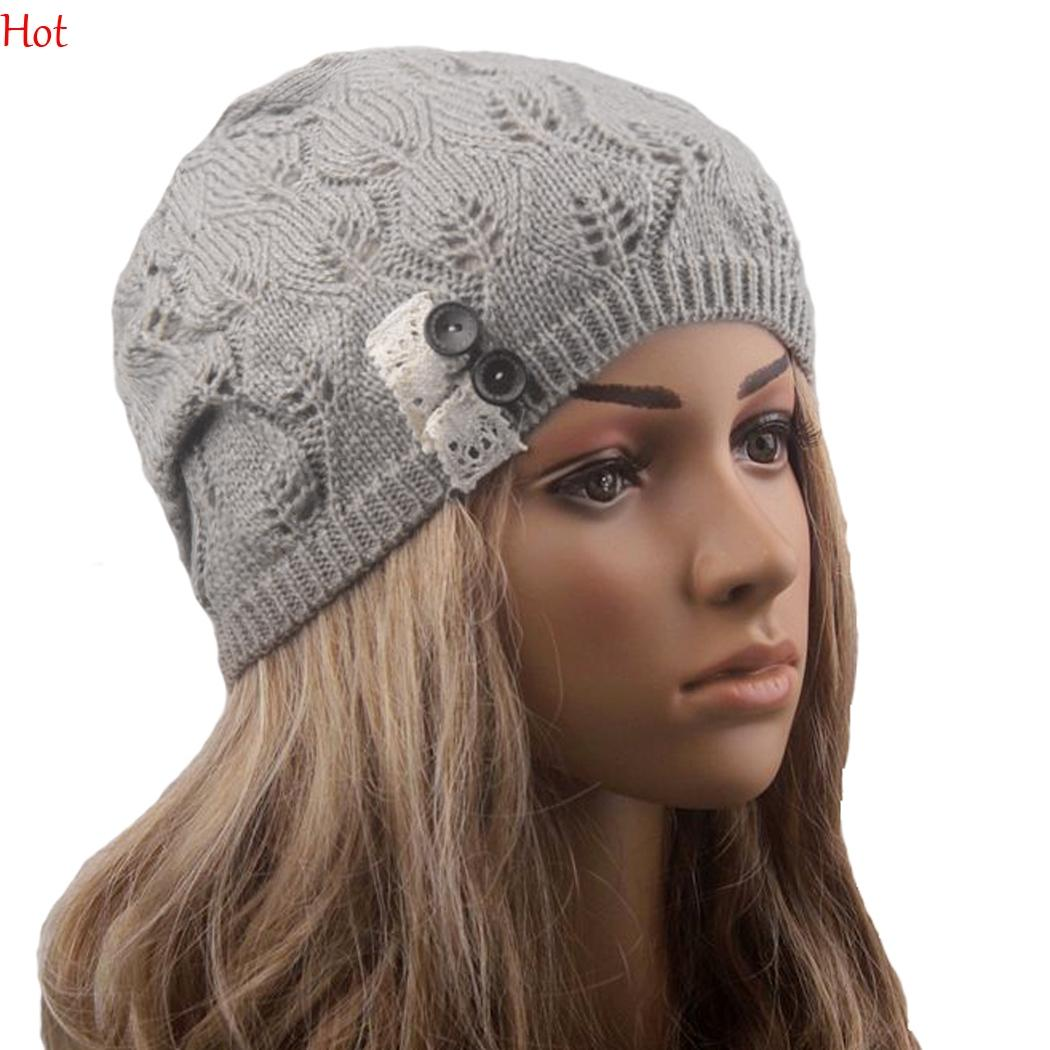 Fashion Women Knitting Hat Casual Hollow Out Leaves Lace Button Wool Hat Female 2016 Knitted Beanies Cap Patchwork Hats Hot Sale SV028432