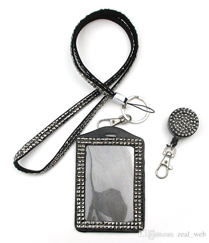 Rhinestone Bling Lanyard Crystal Diamond Necklace neck strap with Horizontal Lined ID Badge Holder and Key Chain for Id/key/cell Phone