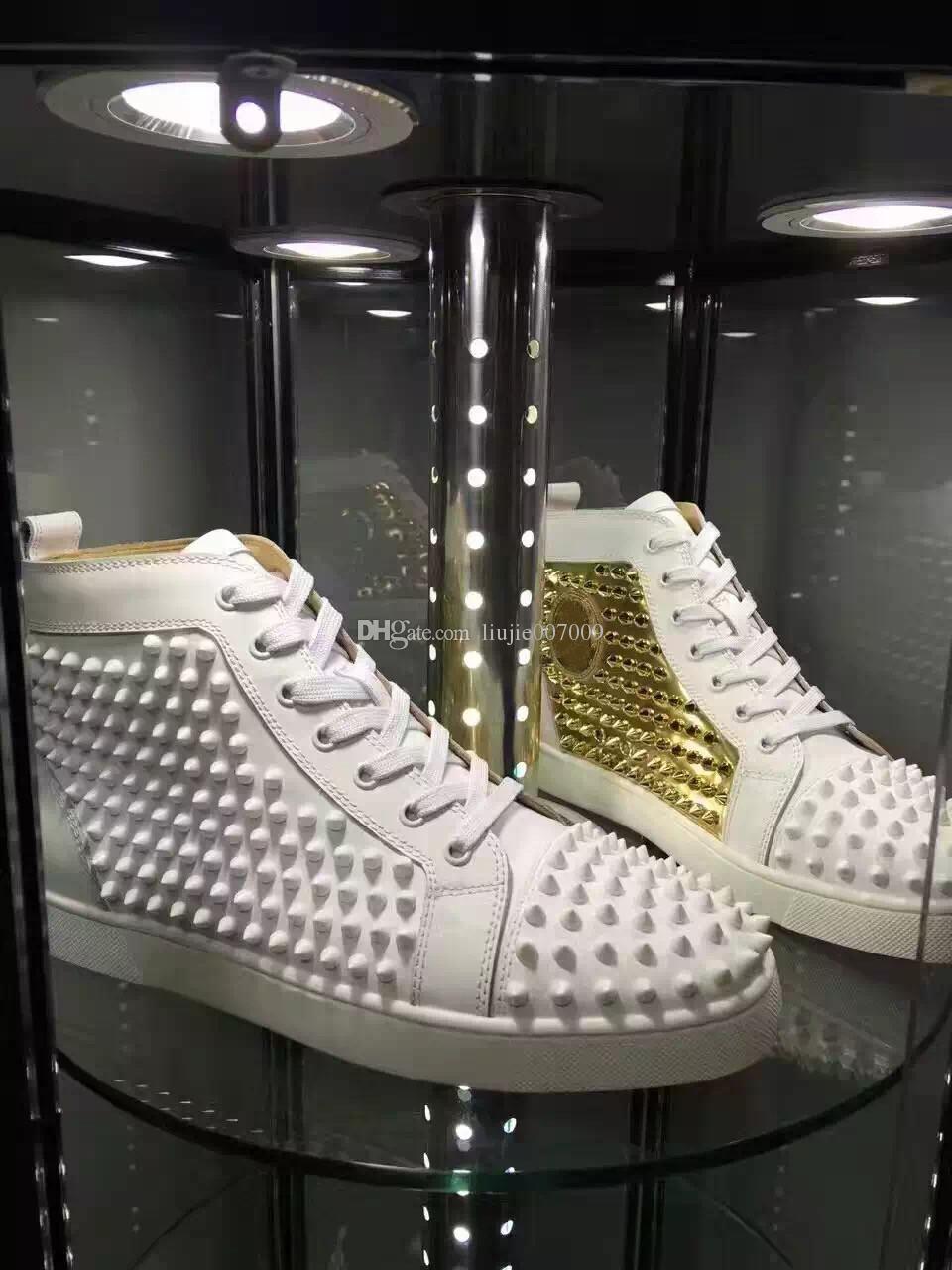 Nombre de la marca de alta calidad Casual Shoe Man Woman Red Bottom Sneaker Fashion Patchwork Oro brillante High Top Rivets Lace Up Party Shoes Spikes