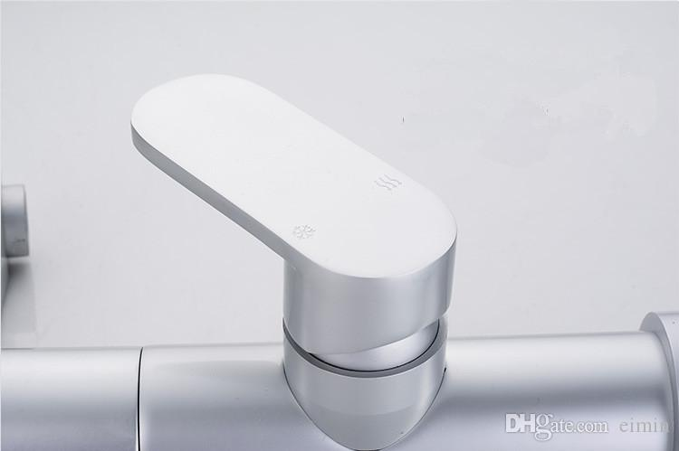 Aluminum faucet Silver high-grade faucet Hot and cold water faucet Lead free aluminum material Kitchen space aluminum water tap