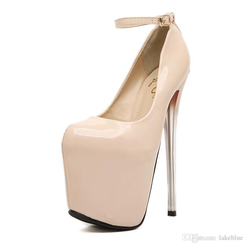 ae7e5ee0a01 New Arrived 2016 Ladies Patent Leather Super 19cm High Heel Sandals 9.5cm  Platform Beautiful Sexy Dance Party Rolando Nude Colour Size 35 43 Shoe  Boat Shoes ...