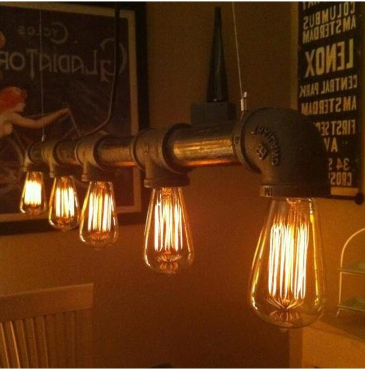 vintage loft industrial water pipe lamp retro classic edison personalized bar lighting counter. Black Bedroom Furniture Sets. Home Design Ideas