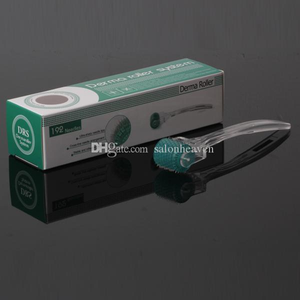 192 aghi Derma Roller Micro Dermaroller Microneedle Roller Clear Handle And Green Roller testa anti invecchiamento di perdita dei capelli