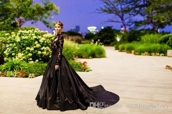 섹시한 검은 웨딩 드레스 저렴한 고딕 신부의 가운 라인 환상 긴 소매 레이스 아플리케 깎아 지른 탑 태 피터 스커트 정식 착용