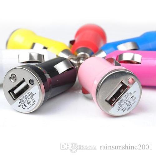 Mini caricabatteria auto USB universale Presa auto universale con adattatore stile bullet Iphone 7 7plus 6 6plus Samsung HTC