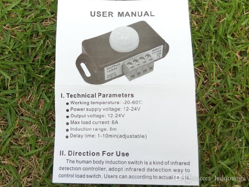 12 V 24V Mini PIR rilevatore di movimento sensore nastro striscia di luce LED Rilevazione a infrarossi 6A 12 Volt 24 Volt campo di induzione 8 m 300 pz / lotto
