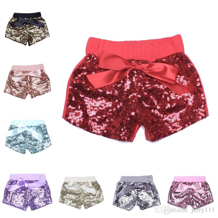 6e0b32c87 0-8y Pantalones cortos para niños 14 colores Toddler Baby Sequins Shorts  Girls Summer Pants Kids Bowknot Short Childrens Candy Trouser LA516-2