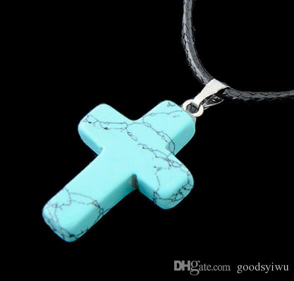 Mixed 9 style Fashion Cross Charms Real Leather Natural Stone Pendant Necklaces Crystal Statment Jewelry Christmas Gift